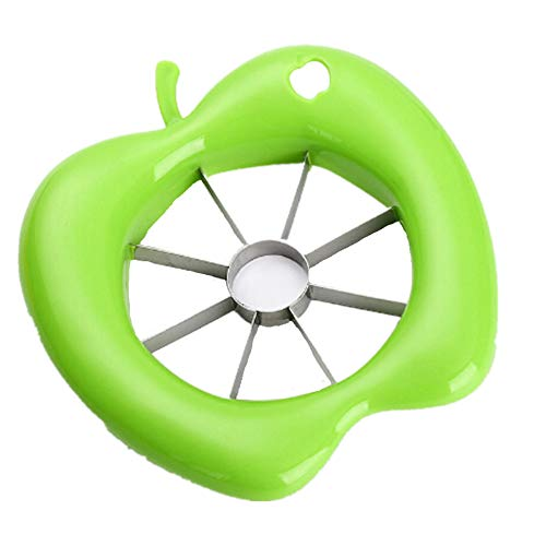 Alivier - Cortador de Fruta de Acero Inoxidable para Manzanas, Cortador de Frutas, Divisor de Frutas, Accesorios de Cocina, Verde, 15.2cm x 14cmx1.5cm