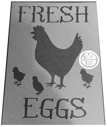 Shabby Chic Schablone Fresh Eggs Huhn mit Küken Rustikal Mylar Vintage A4297x 210mm Art Wand