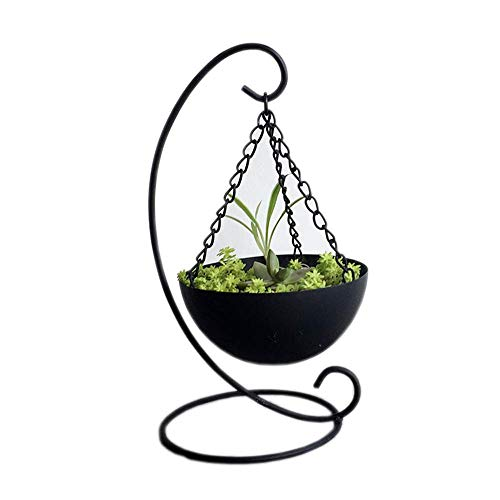 Wly&Home smeedijzer creatieve opknoping mand bloem standaard, balkon vensterbank bureaublad decoratieve plant standaard 22 cm, zwart