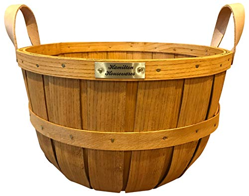 Hamilton Housewares Wooden Half Bushel Basket for Gardening – Sturdy Hardwood Construction with Leather Handles – 100 Percent Made in USA