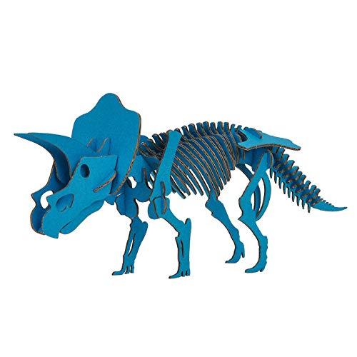 DINOSAUR恐竜骨格工作キットトリケラトプス・ブルーダンボールでつくる恐竜骨格のりもはさみも使わずに組み立てられるペーパークラフトCardboard craft kit, Dinosaur
