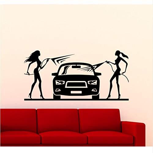 Fandhyy Stickers muraux Decal de Vinyle Home Interior Decor Lave-Auto Stickers Muraux Salon Amovible Filles Lavant Une Voiture
