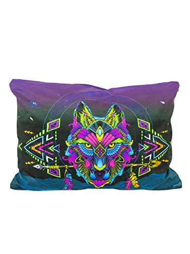 PSYWORK Schwarzlicht Neon Sentymo - Cojín (50 x 70 cm), diseño de lobo