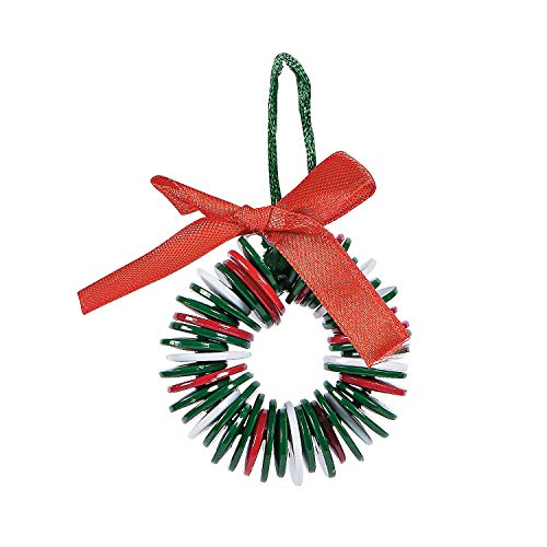 Fun Express Plastic Button Wreath Ornament Craft Kits   24 Count   Christmas Tree Decor for Holiday Season, Yuletide Celebrations, and Special Occasions