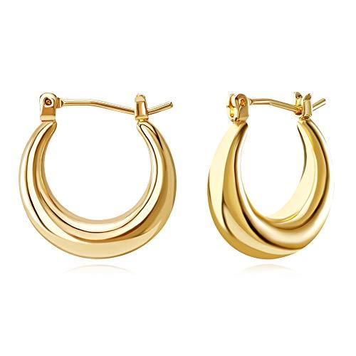 FAMARINE Chunky Hoop Earrings, Dainty Minimalist Open Hoops Earrings For Women Gift Box, 14K Gold Plated