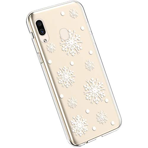 Ysimee Compatible avec Samsung Galaxy A20e Coque Transparent avec Motif Série de Christmas Etui Silicone Souple Ultra Mince Doux Case Housse de Protection Crystal Clear Cover,Flocon de Neige Blanche