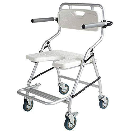 Verplaatsbare toiletbril oude man badkamer stoel wiel douche vouwstoel toilet stoel met armleuningen