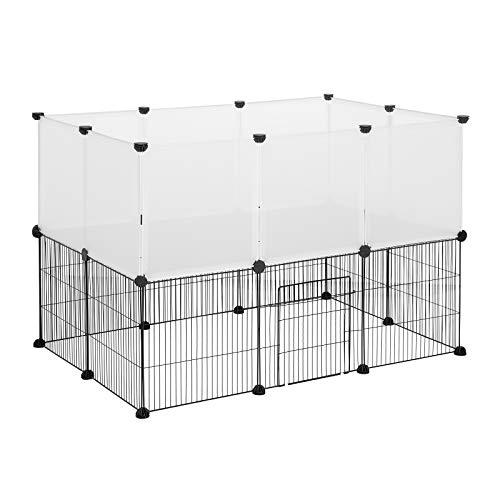 EUGAD Recinto per Animali a 2 Piani Recinzione per Conigli Cuccioli da Interno Esterno Gabbia Modulare DIY per Piccoli Animali Martelletto Incluso 0005WL