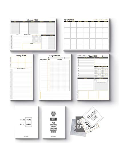 2020 Planer 11-teiliges Get Productive Set by Mille Sanders | 5 Planerblöcke, 2 Notizhefte, 4 Sticker - Tagesplaner, Wochenplaner, Monatsplaner, Cornell Notizen, Aufgabenplaner