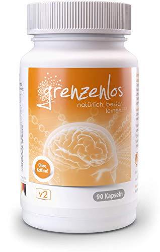 grenzenlos® Brain Booster¹ - koffeinfreie Konzentrations-Tabletten² mit Bacopa & B5¹ für Dein Gedächtnis - geistige Leistung durch Eisen² & B5¹ unterstützen - Markenprodukt mit 90 Kapseln - 100% vegan