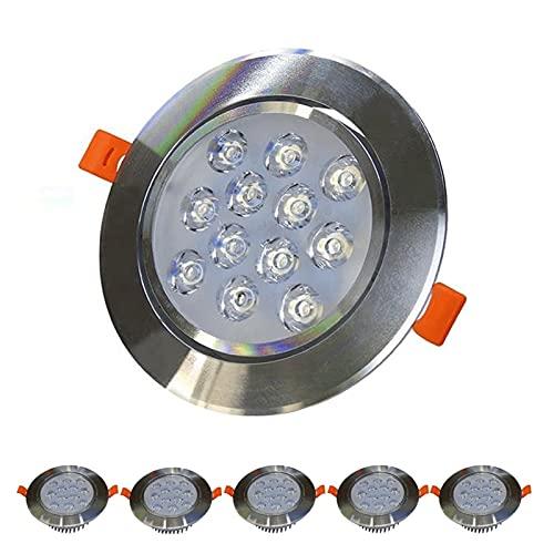 Alto sombreros LED LED Empotrado Iluminación 12W Panel plano Abajo Light Techo Techo Luces Corte 115-120mm Iluminación de Downlight para baño Cocina de sala de estar [Clase de energía A +]