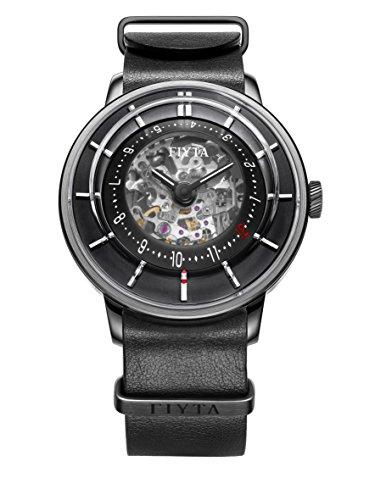 FIYTA 3D-Time Esqueleto automático Reloj para Hombre Piel de Color Negro Correa de la OTAN wga868000. BBB