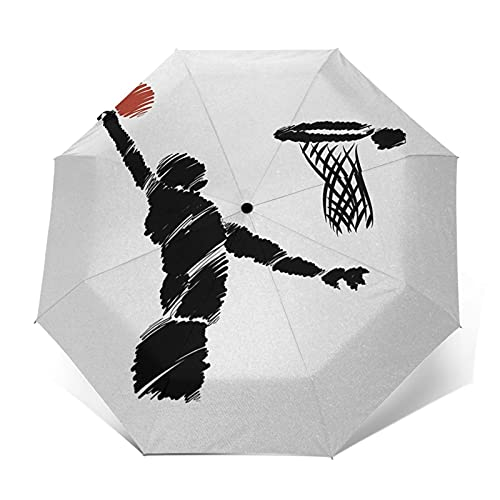 Paraguas Plegable Automático Impermeable Jugador de Baloncesto, Saltar, Paraguas De Viaje Compacto a Prueba De Viento, Folding Umbrella, Dosel Reforzado, Mango Ergonómico