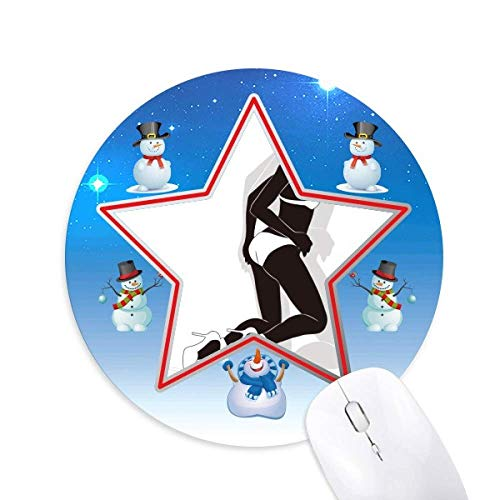Hot Woman Bikini Silhouette Snowman Mouse Pad Round Star Mat