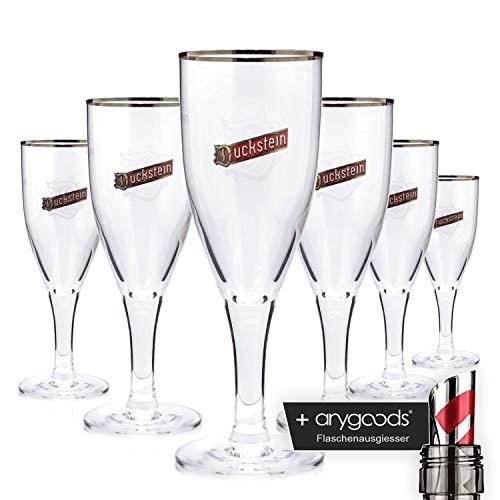 6 x Duckstein Sommelier 0,3l Glas/Gläser, Markenglas, Bierglas NEU + anygoods Flaschenausgiesser