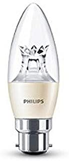 Philips Warmglow 8718696453643 230 V B22 bayoneta 6 W bombilla tubo LED de intensidad regulable, luz blanca cálida