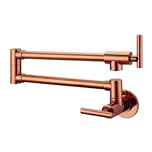 Great Features Of STJDM Kitchen Faucet,Modern Style Solid Brass Rose Gold Finish Wall Mounted Pot Fi...