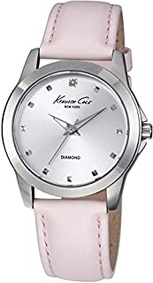 Kenneth Cole New York Women's KC2858 Diamond Accented Stainless Steel Watch With Pink Leather Band
