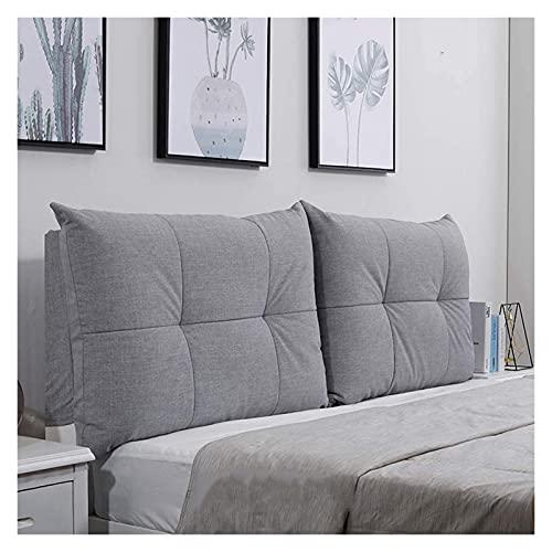 Aralinda Almohada de posicionamiento de respaldo grande para cabecera, almohada de lectura de espuma viscoelástica, almohada de apoyo lumbar extraíble, color gris claro 1501060 cm