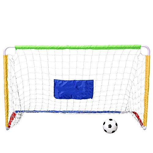Sunxwen Folding Praxis Fußballtor DREI-Personen-Mini Abnehmbarer Fußball-Ziel Removable Einfach Football-Feld Tor Indoor Outdoor Kinder Fußball-Ziel (Farbe : C1, Größe : 120cm*78cm*55cm)