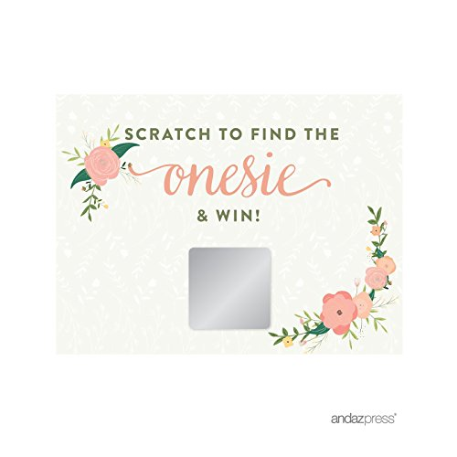 Andaz Press Floral Roses Girl Baby Shower Collection, Games, Activities, Decorations, Baby Scratch Off Winner Game Cards, 30-Pack