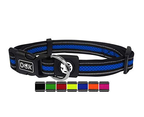 DDOXX Hundehalsband Air Mesh, reflektierend, verstellbar, gepolstert | viele Farben | für kleine & große Hunde | Halsband Hund Katze Welpe | Hunde-Halsbänder | Katzen-Halsband klein | Blau, L