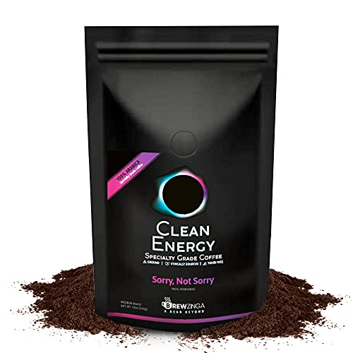 Brewzinga Clean Energy Honduras Ground Coffee Medium Roast - 12 Oz - Toxin, Mold Free, and Fair Trade | Top 3% of Coffee in The World (Sorry Not Sorry)