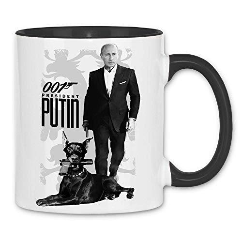 Royal Shirt rs5 Tasse 007 Putin | Putin Bond Dobermann Waffen Pistole Russland, Farbe :White - Black