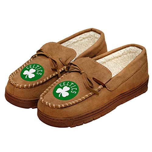 NBA Boston Celtics Mens Team Logo Moccasin Slippers Shoes, Tan, Medium (9-10)