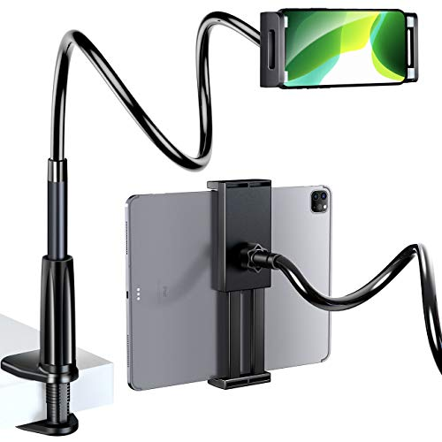 """eSamcore Phone Stand Tablet Stand - Universal Gooseneck Cell Phone Holder with Clamp Flexible Neck Mount for Bed Desk Table, Compatible with All 4.7"""" - 10.9"""" iPhone iPad Galaxy Tab Switch [Black]"""