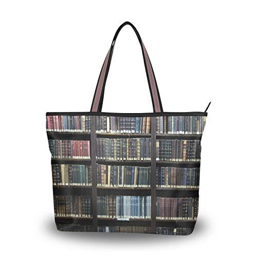 NaiiaN Bolsos de mano para mujeres, niñas, señoras, estudiantes, correa ligera, estantería vieja, biblioteca, bolsos de hombro, monedero, compras