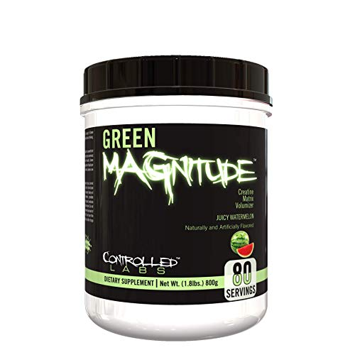 Controlled Labs Green MAGnitude, Synergistic Creatine Formula, Promotes Strength, Stamina, and Performance, Helps Maintain Workout Intensity, 80 Servings, Juicy Watermelon