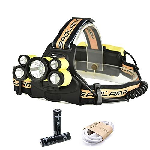 Linterna Frontal Lámpara de cabeza recargable USB de faro LED 3T6 + 2xPE Faro de iluminación Linterna linterna Linterna Luz de pesca (Emitting Color : Package B)