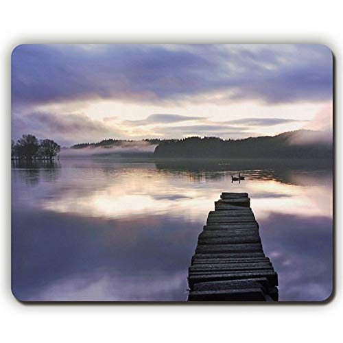 Mouse Pad,Forest Lake Bridge Swans Fog Sunrise,Game Office Mousepad