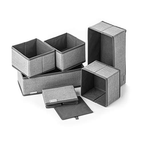 Navaris Förvaringslådor Organiseringssystem Tyglådor - 6 stycken i olika storlekar - för garderob och lådor - vikbara