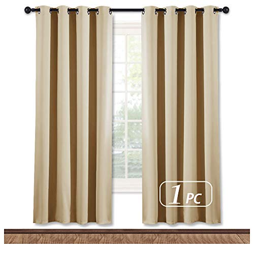 NICETOWN Blackout Drapery Curtain Panel - Window Treatment Thermal Insulated Solid Grommet Blackout Curtain/Panel/Drape for Bedroom (Biscotti Beige, 1 Panel, 52 by 72 inches)