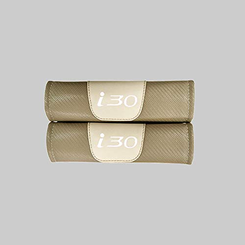 ZXCV 2 Fundas Coche Almohadillas Cinturón Fibra Carbono, para Hyundai I30 Hombro Correa Protector Seguridad con Logo Auto Interior Accesorios