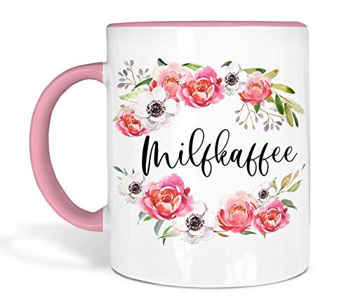 True Statements Tasse - Milfkaffee - Büro Kaffeetasse mit lustigem Spruch für Mütter- Beidseitig Bedruckt spülmaschinenfest Inner Rose