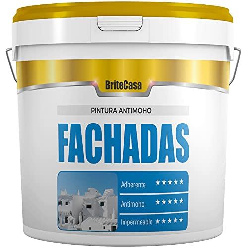 PINTURA PARA FACHADAS ANTIMOHO 20 kg - BRITECASA - Extra BLANCO, MATE - Impermeabilizante, máxima adherencia y cubrición, para interior y exterior - Revestimiento liso