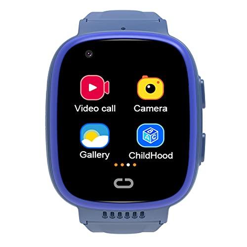 Sunnyushine Reloj inteligente para niños, 4 g, GPS, resistente al agua, chat de vídeo, reloj inteligente para niños