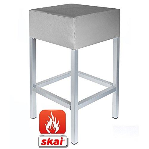 Kaikoon barkruk platina grijs/zilver B1 afmetingen: 34 cm x 34 cm x 82 cm moeilijk ontvlambaar