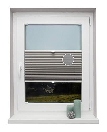 Plissee auf Maß Thermo für alle Fenster Montage in der Glasleiste Blickdicht mit Spannschuh Sonnenschutzrollo Hellgrau Breite: 71-80 cm, Höhe: 201-250 cm