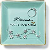 Ceramic Jewelry Dish Tray for Mom Blue Ring Dish Women Jewelry Organizer Hand Made Mother's Gift Birthday Gift Wedding Gift Design in Italy - Remember I Love You Mom (Remember I Love You MOM-Blue)