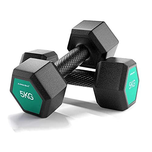 WRJ@ Mancuernas 1KG /2KG Pesas Ligeras Pequeñas Pilates Body Pump Hombre Mujer Ejercicio Gimnasio Casa Fitness Dumbbell Pesas para Gimnasio en Casa