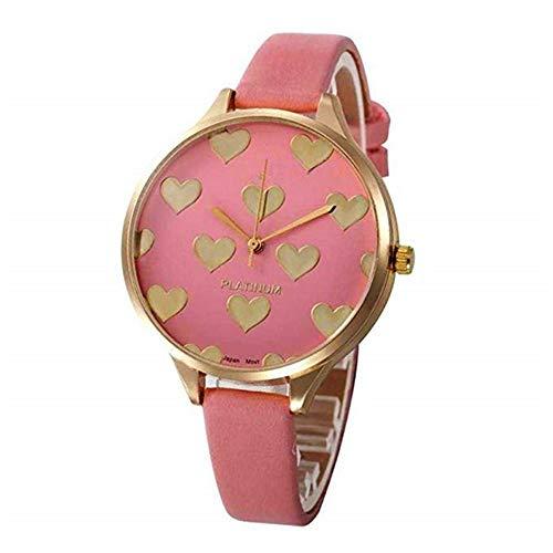 WSSVAN Reloj analógico de Cuarzo para Mujer Cuero sintético Geneva Acero Inoxidable Dial Dorado corazón (Rosa)