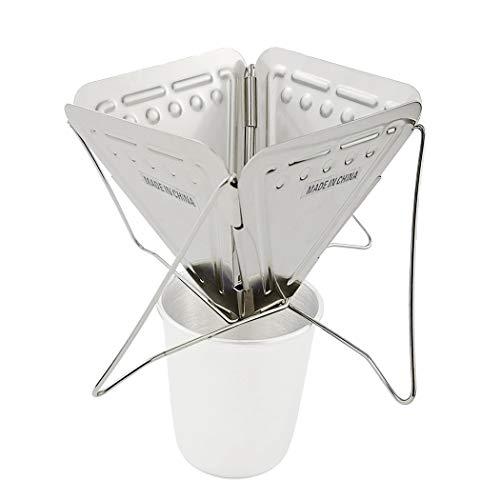 JUSTDOLIFE Filtro de café de Viaje Cafetera Plegable de Acero Inoxidable Cafetera