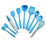 Utensilios Cocina,Juego de Utensilios de Cocina de Silicona Juego de Utensilios de Cocina antiadherentes de 10 Piezas Utensilios de Cocina Utensilios para Hornear-Conjunto Azul de 10 Piezas [Incluye