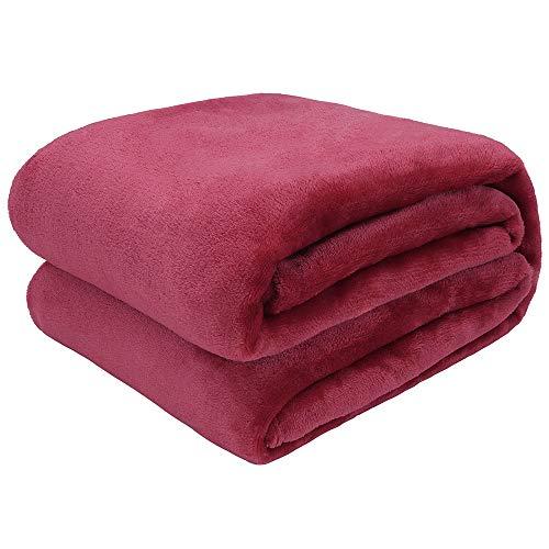 Arkham Manta de forro polar de franela, color rojo vino, manta mullida, cálida para el sofá de la cama y tirar a las mascotas, exquisita comodidad, franela de forro polar, 230 x 270 cm