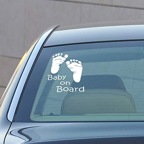 JXFFF Generation von feinen geschnitzten Baby an Bord Fußabdruck Auto Aufkleber Schlafzimmer Wohnzimmer Dekoration kostenlose Aufkleber 20 * 15cm