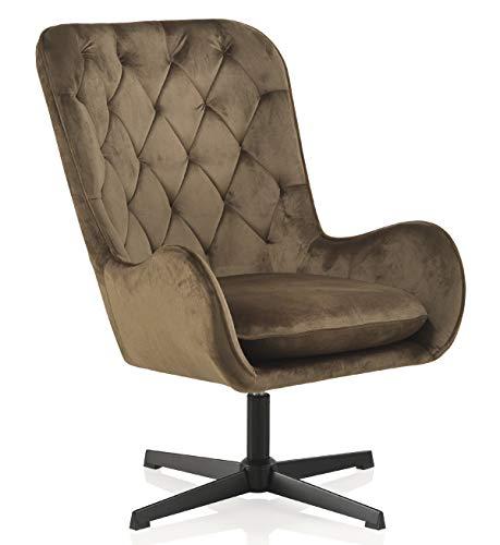 GEESE - Sillón Giratorio tapizado en Color marrón con Patas metálicas en Color Negro - Medidas: Ancho 70 cm, Largo 84 cm, Alto 100 cm